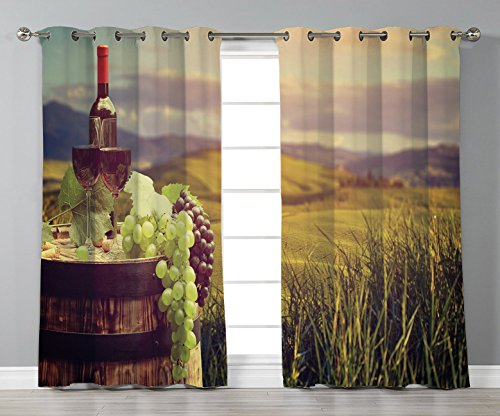 Thermal Insulated Blackout Grommet Window Curtains,Wine,Italy Tuscany Landscape Rural Vineyard Autumn Harvest Grapes Drink Viticulture Decorative,Green Black Brown,2 Panel Set Window Drapes,for Living