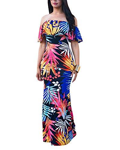 Maxi Lungo Banchetto Off Blu Vestito Abiti Sottile marino Bohemian Floreale Sera Stampa Spiaggia Retro Donna Dress da Formale Spalla qSn7wWZZT