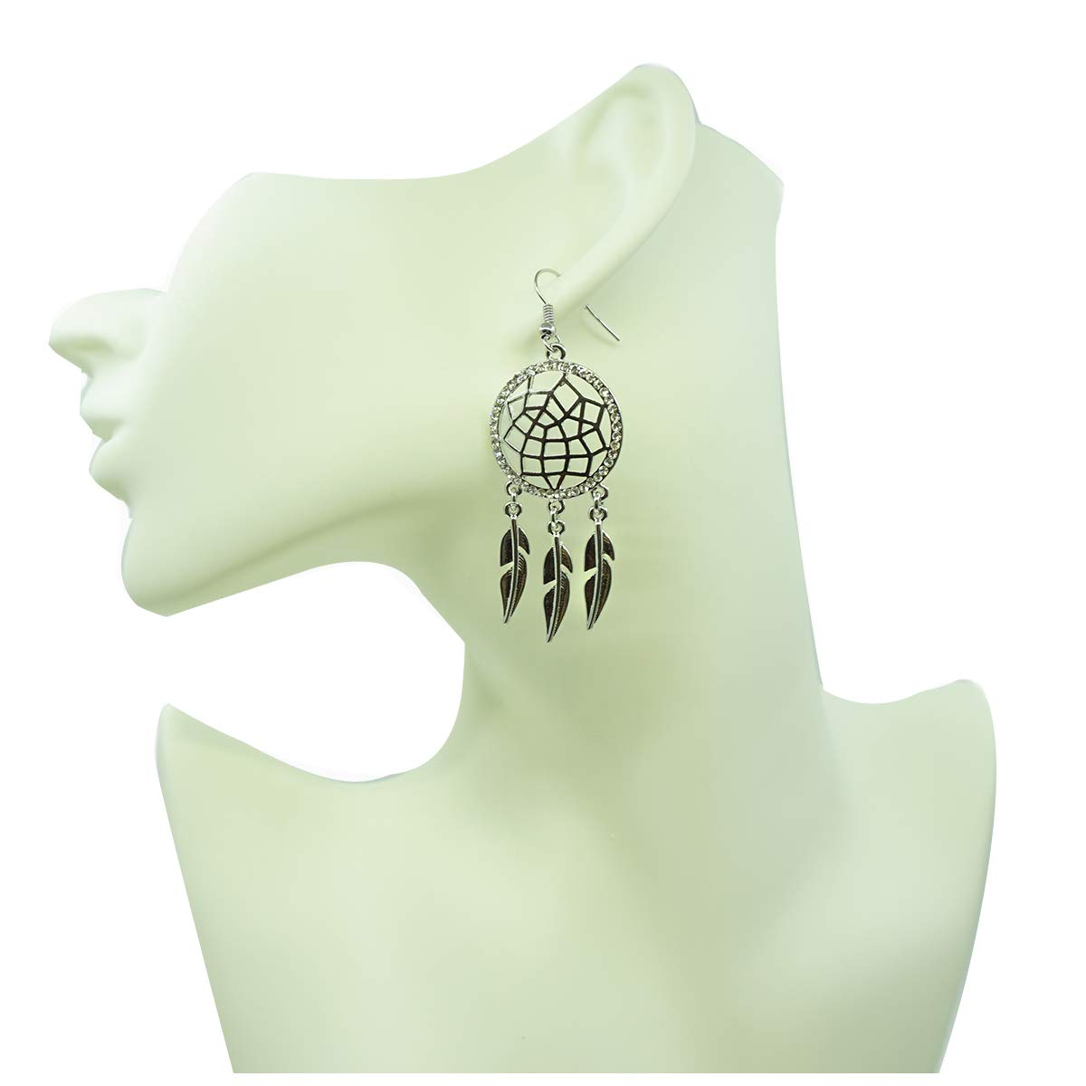 Dangle Earring for Women,Dream Catcher Drop Earring Rose Gold and Silver Earring Hypoallergenic Earring with CZ Crystal
