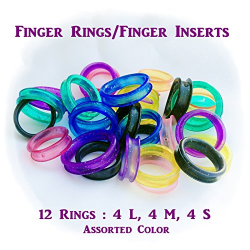 12x Barber Hair Shears Scissors Finger Rings Grips Inserts - Soft Rubber Ring Sizer 4L, 4M, 4S Assorted Color