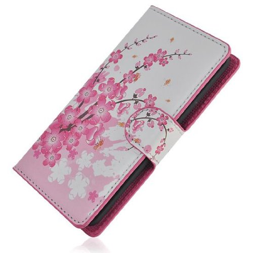 Dolaso Pink Plum Flower Wallet Stand Leather Case with Card Slot Compatible with LG Optimus G2 D801 D802 J