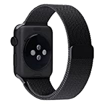 Apple Watch Band, HuanlongTM Milanese Magnetic Closure Clasp Bracelet Metal Watch Band, Milanese Loop Stainless Steel Mesh Replacement Wrist Band Strap for Apple Watch Sport Edition (42mm Black)