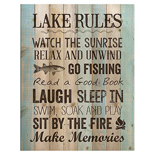 P. Graham Dunn Lake Rules Relax Unwind Fishing Memories 16 x 12 inch Pine Wood Plank Wall Sign Plaque (Rules House Lake)