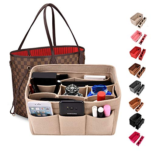 Kumako handbag organizer,Felt purse insert bag organizer fit LV neverful,Speedy,Longchamp&Tote Bag(M, Beige)