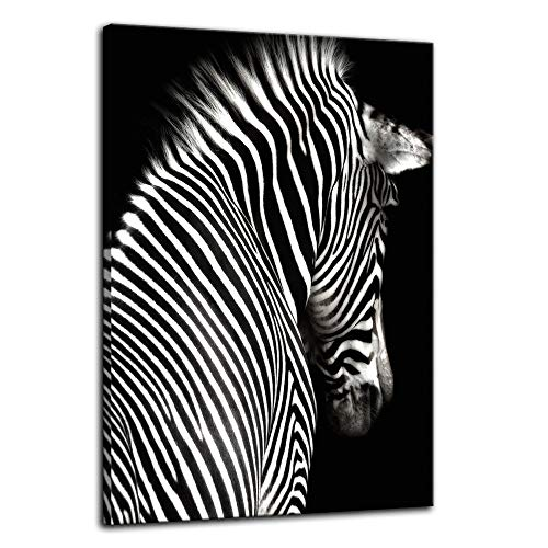 (Urttiiyy Black and White Zebra Wall Art of Animal Prints on Canvas Pictures for Living Room Decor Wall Artwork HD Prints for Home with Framed Stretched Ready to Hang)
