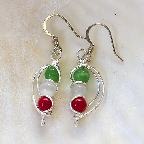 Italian Flag Italy Pride Green White Red Beads Dangle Handmade Italia Earrings