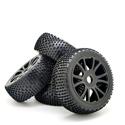 4PCS 1:8 RC Off-Road Buggy Tyre Tires Plastic Double 6 Spoke Wheel Rims Black