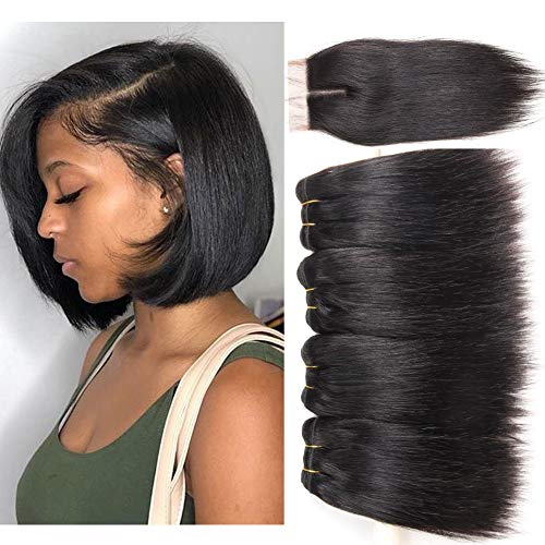 - Brazilian Straight Hair Bundles with Closure 100% Unprocessed Virgin Human Hair Weave 4 bundles Deals with 4x4 Top Lace Closure Human Hair Weft Extension Natural Black Color (8 8 8 8 closure 8)