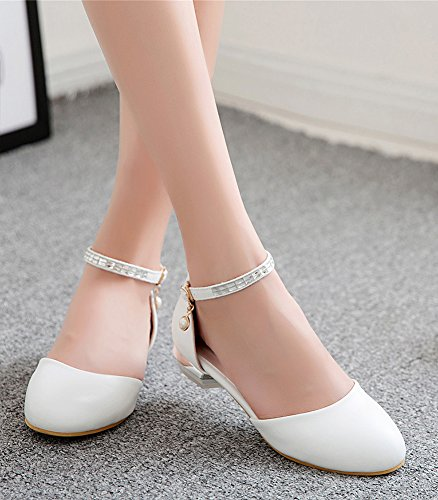 Aisun Women's Casual Ankle Strap Round Toe Sandals with Rhinestones White AG2Xi7dc4a