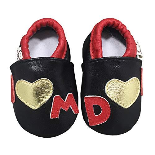 Chaussons Bébé Lpattern Noir Cuir Unisexe Chaussures Le Pas Souple Premier Pour XXrq5v