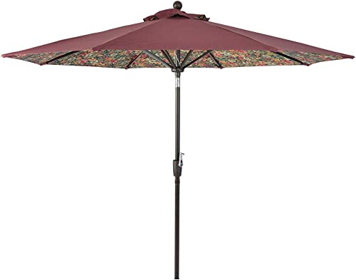 LCH 9ft Outdoor Patio Umbrella Push Button Tilt and Crank Outside Sunbrella, Table, Market, Garden Umbrella, Round, Wine Red and Floral