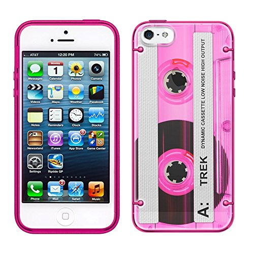 (iPhone 7 Plus Retro Clear Cassette Tape Pink See Through Case with Glow Pink)