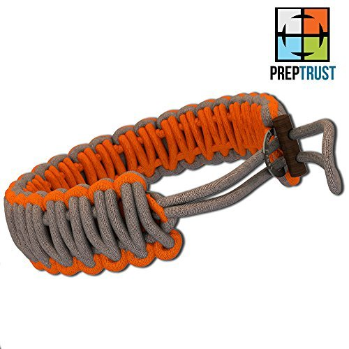Prep Trust Adjustable Paracord Bracelet - Made From Best Parachute Cord - Many Survival Uses - Braided Rope with Fire Starter and Knife - 100% Satisfaction -