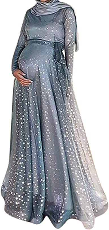 Tefamore Vestido de Maternidad, Mujer Embarazada Falda Larga ...
