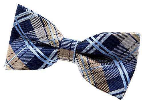 (Retreez Elegant Tartan Plaid Check Woven Microfiber Pre-tied Bow Tie (4.5