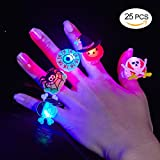 #8: BUDI 25Pc Halloween Party Favors LED Finger Lights For Kids and Adults LED Rings with Halloween Gift Package Treats Bags Light Up Toys Rings Party Decorations Assorted Style Pack of 25