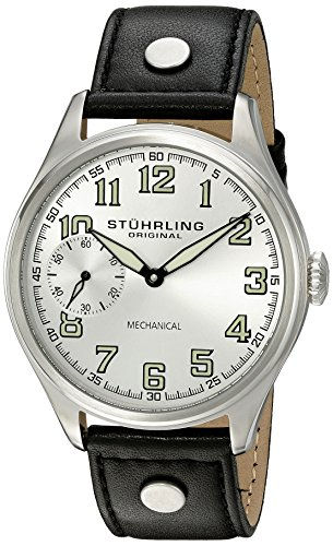 Stuhrling Original Men's 'Aviator' Mechanical Hand Wind Stainless Steel and Black Leather Casual Watch (Model: 457.33152)