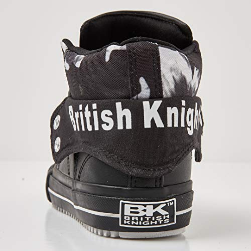 08 Donna Alto flower A Knights Collo Sneaker Nero British black white Roco black 7pqWY