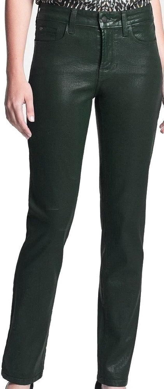 NYDJ Green Women's 8X30 Slim Skinny Faux-Leather Jeans
