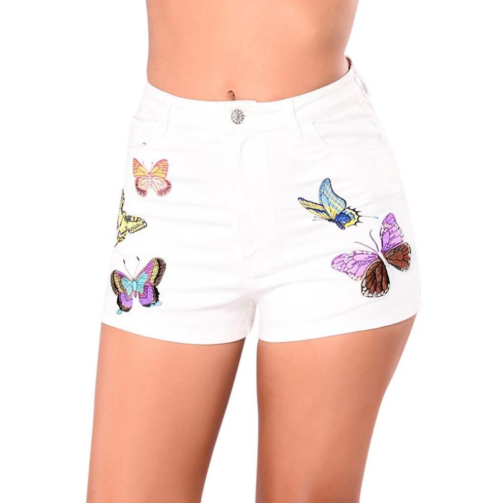 Pervobs Women Shorts Big Promotion! Women Summer Butterfly Print High Waist Short Pants Zipper Pocket Denim Pants Jeans (XL, Beige)