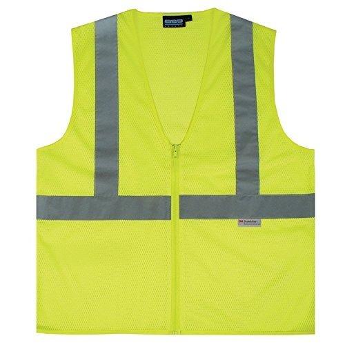 Medium Polyester ERB Safety 039-14625 S15Z ANSI Class 2 Zippered Mesh Safety Vest with Pockets Hi-Viz Lime