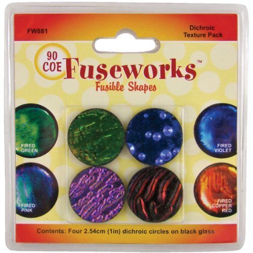 Fuseworks Dichroic Texture Fusible Glass Shapes, 1-Inch Round Disks, Assorted Colors, 4-Pack