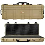 Search : Eylar 44 Inch Protective Roller Tactical Rifle Hard Case with Foam, Mil-Spec Waterproof & Crushproof, Two Rifles Or Multiple Guns, Pressure Valve with Lockable Fittings Tan