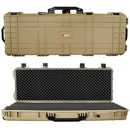 Eylar 44 Inch Protective Roller Tactical Rifle Hard Case with Foam, Mil-Spec Waterproof & Crushproof, Two Rifles Or Multiple Guns, Pressure Valve with TSA Approved Lockable Fittings Tan