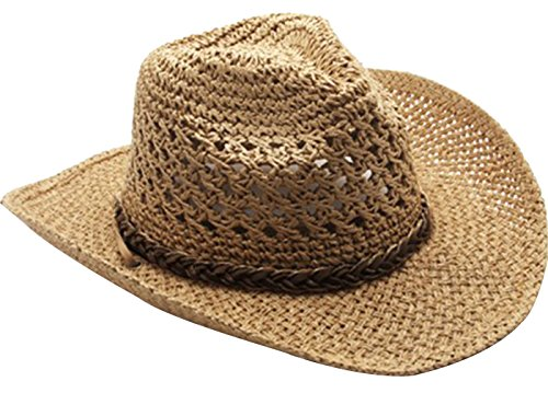 URqueen Women's Straw Round Up Cowboy Ranch Hat with Chin Strap Khaki One Size