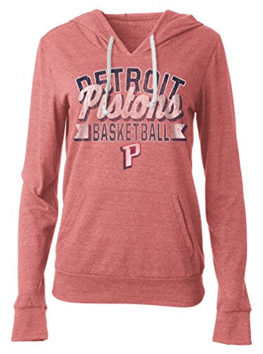 NBA Detroit Pistons Women's Tri Blend Jersey Pullover Hoodie with Pouch Pocket, Large, Tri Natural Red (Detroit Pistons Womens Hoodie)