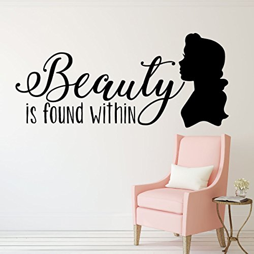 "Beauty and the Beast Decoration -""Beauty is Found Within"" Quote from Belle - Children and Teen Home Decor For Bedroom, Girl's Room, Nursery, Bathroom"