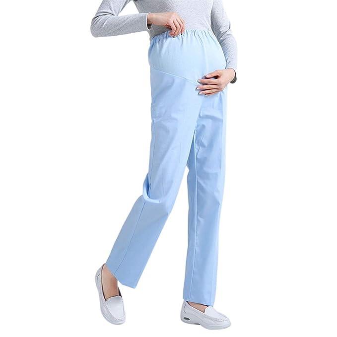 e4748e274 Xianheng Pantalón Médico Laboratorio Pantalónes Uniforme de Trabajo  Enfermera Sanitaria de Moda para Mujeres o Mujer Embarazada Cómodo para  Otoño o ...