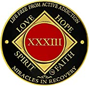 Simply Minimal NA 31-40 Years Medallions, Narcotics Anonymous Coins, Gold Color Plated Recovery Token