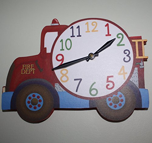 Firetruck Wooden WALL CLOCK for Boys Bedroom Baby Nursery WC0051 by Toad and Lily