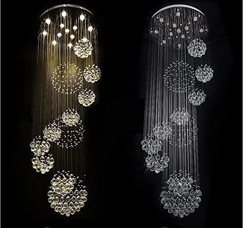 7PM W40 X H118 Staircase Large 11 Sphere Rain Drop Clear LED K9 Crystal Chandelier