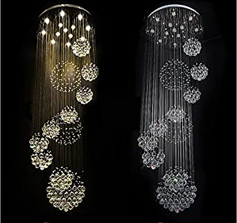 7PM W31.5 X H86.6 Large 11 Sphere Rain Drop Clear LED K9 Crystal Chandelier