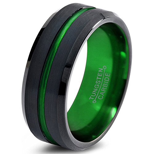 Tungsten Wedding Band Ring 4mm 6mm 8mm 10mm for Men Women Green Black Beveled Edge Brushed Polished FREE Custom Laser Engraving Lifetime Guarantee