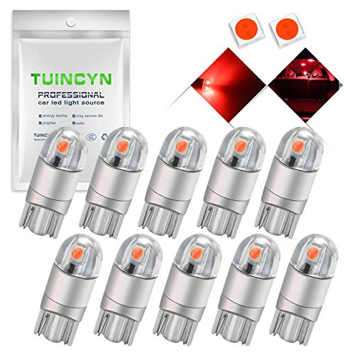 TUINCYN T10 194 168 LED Bulb Red Super Bright 2825 W5W 175 158 Socket 2SMD 3030 Chipsets Car Interior Light Map Dome Lamp Courtesy Trunk License Plate Dashboard Parking Light, 12V-24V(10pcs)