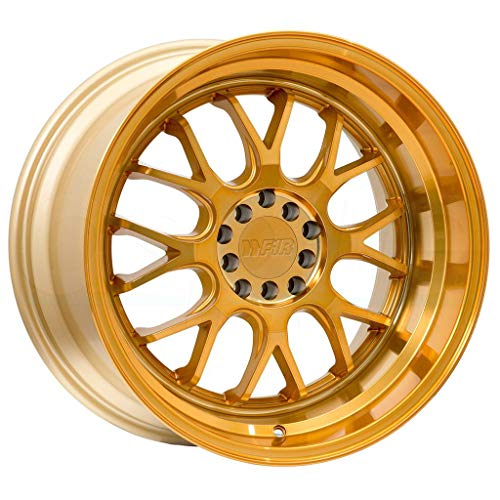 (F1R F21 Gold Wheel with Machined Finish (18 x 8.5 inches /5 x 114 mm, 38 mm Offset))
