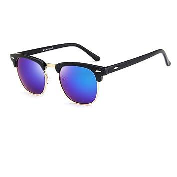 Gafas de Sol Polarizadas Forepin® para Mujer y Hombre (Azul Oscuro) Gafas Retro Sunglasses Vintage 1/2 Marco Metal + Plastico Clásico Espejo UV400 Lente: ...