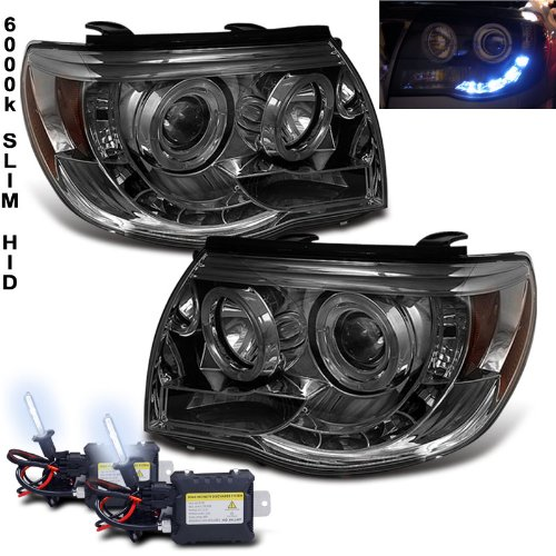 (Slim 6000k Xenon HID + 05-11 Toyota Tacoma Halo LED Smoke Projector Headlights)