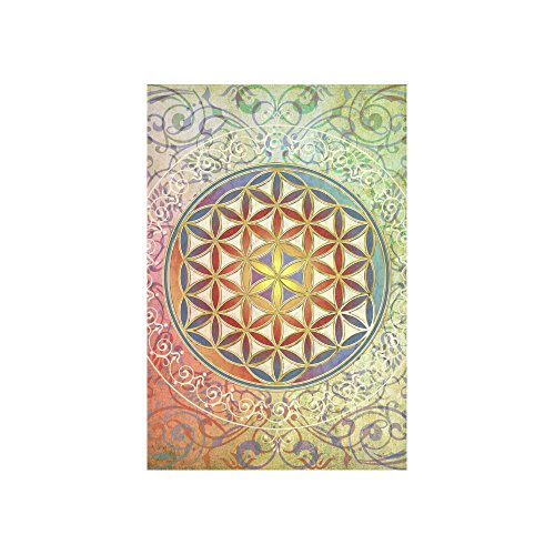 Artsadd Custom Wall Tapestry FLOWER OF LIFE vintage ornaments green red Cotton Linen Wall Tapestry 40 x 60 Wall Decor Wall Hanging