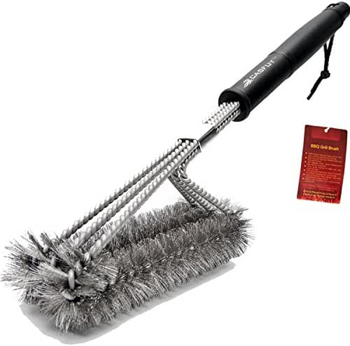Casfuy BBQ Grill Brush – 18 Inches 3 in 1 Stainless Steel Barbecue Grill Cleaning Brush – 100% Rust Proof – with Wire Bristles & Long Handle & Strength Clip