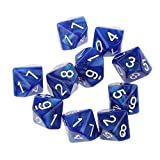 Pack of 10pcs Ten Sided Dice D10 Playing Dungeons & Dragons D&D TRPG Board Game Blue