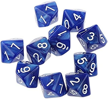 10pcs Juegos de Mesa Dados de Diez Caras 0~9 D & D TRPG - Azul ...