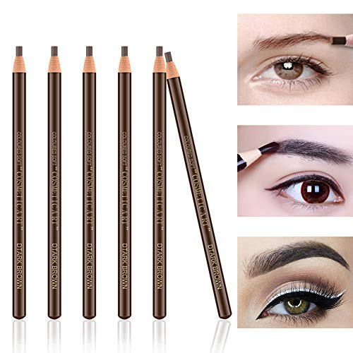 Ownest 6Pcs Pull Cord Peel-off Eyebrow Pencil Tattoo Makeup and Microblading Supplies Set for Marking, Filling and Outlining, Waterproof and Durable Permanent Eyebrow Liner-Dark brown
