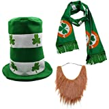 CreepyParty St. Patrick's Day Party Costume Suit Hat, Bow, Bow Tie, Beard, Scarf (Hat, Beard, Scarf) Green
