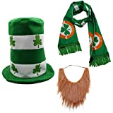 CreepyParty St. Patrick's Day Party Costume Suit Hat, Bow, Bow Tie, Beard, Scarf (Hat, Beard, Scarf)
