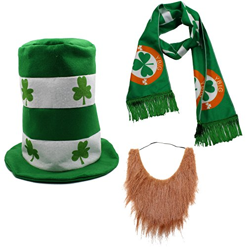 CreepyParty St. Patrick's Day Party Costume Suit Hat, Bow, Bow Tie, Beard, Scarf (Hat, Beard, Scarf) by CreepyParty-seaton