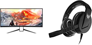 "Acer Predator X35 bmiphzx 1800R Curved 35"" UltraWide QHD Gaming Monitor with Acer Predator Galea 311 True Harmony Sound Gaming Headset"